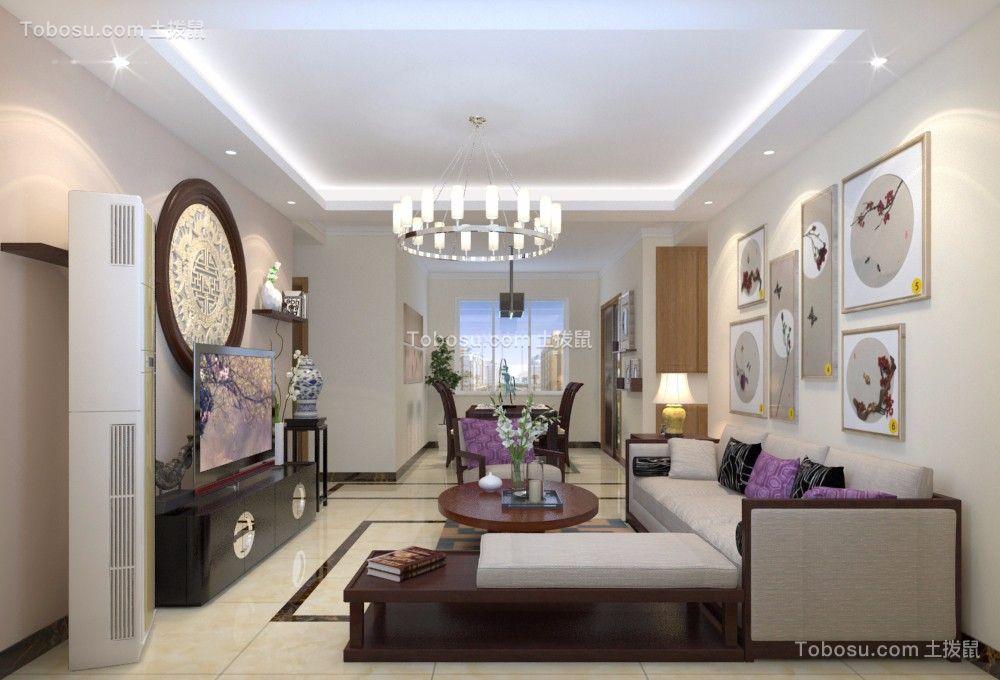 客厅白色吊顶中式风格装修设计图片