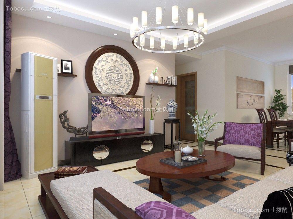客厅白色细节中式风格装潢设计图片