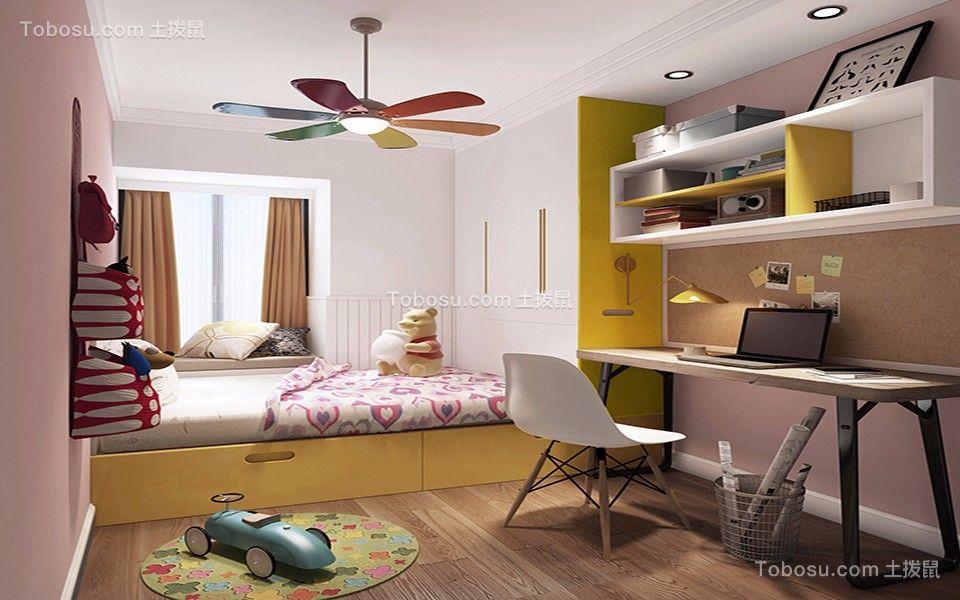 卧室粉色背景墙简约风格装饰设计图片