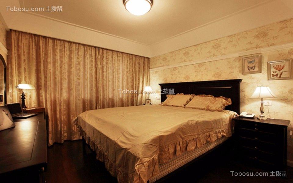 卧室黄色窗帘美式风格装潢设计图片