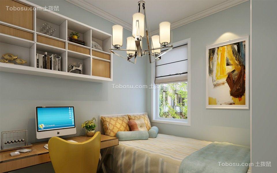 卧室蓝色床简约风格装修设计图片