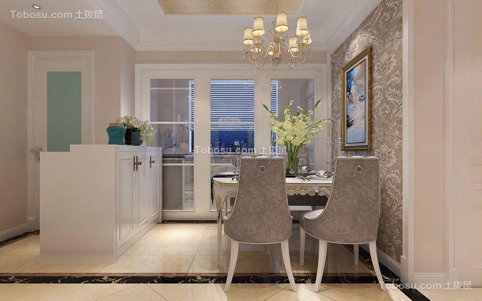 餐厅白色推拉门欧式风格装饰效果图