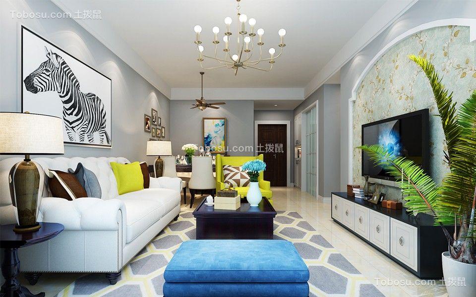 客厅蓝色背景墙简欧风格装修图片