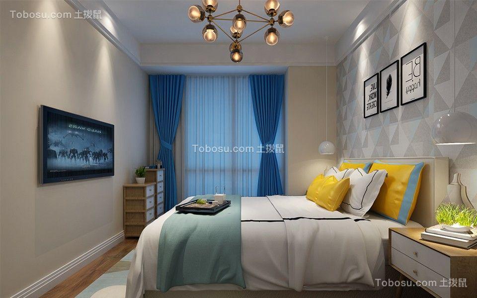 卧室蓝色窗帘简欧风格装修设计图片