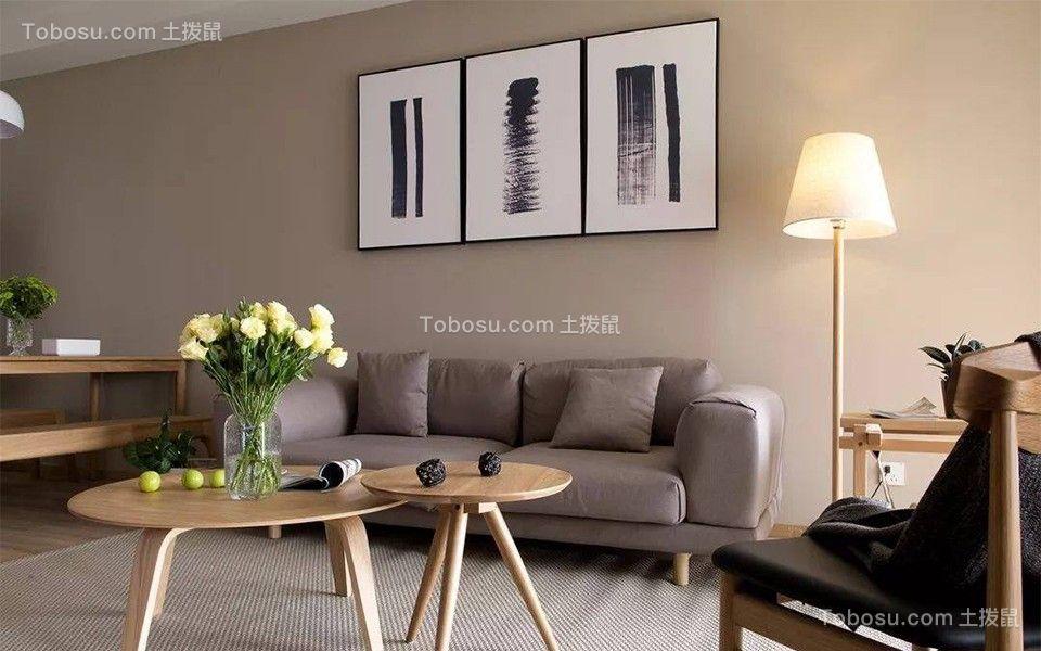 95平米原木极简风二室一厅装修效果图