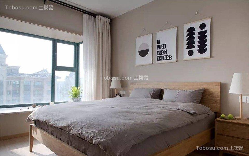 卧室灰色床简单风格装潢效果图