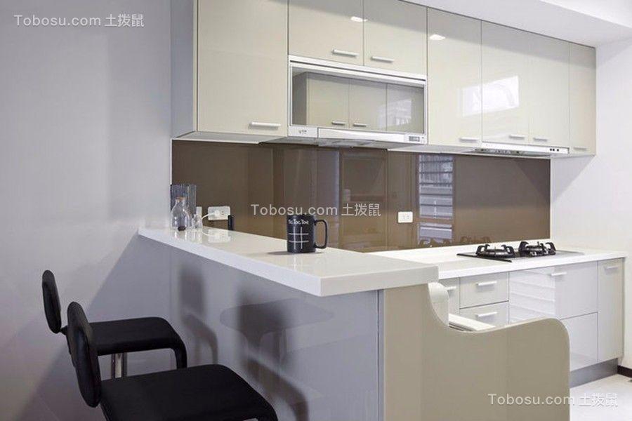 厨房白色厨房岛台简约风格装潢图片