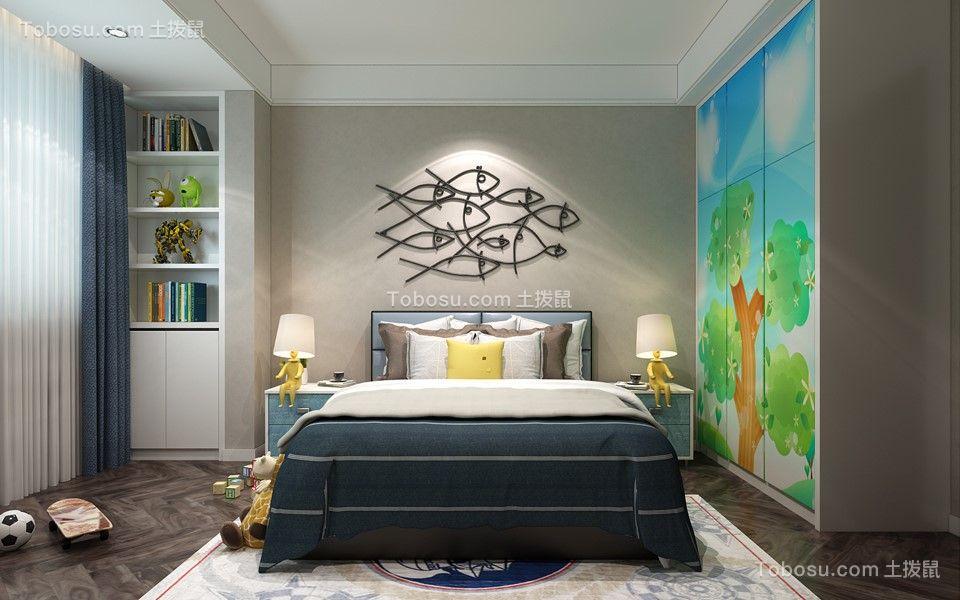 卧室绿色窗帘后现代风格装潢图片