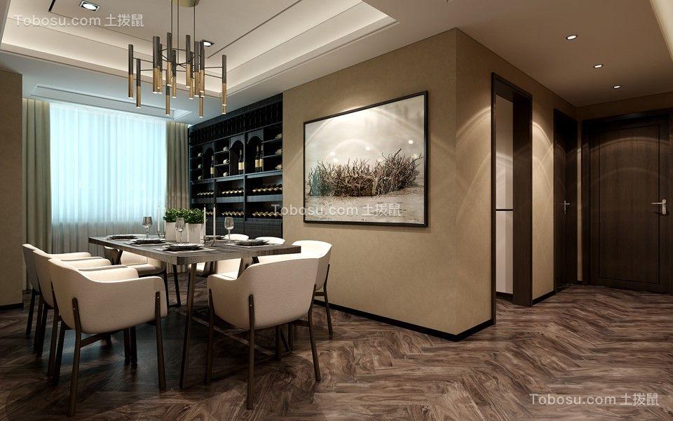 餐厅咖啡色餐桌后现代风格装修设计图片
