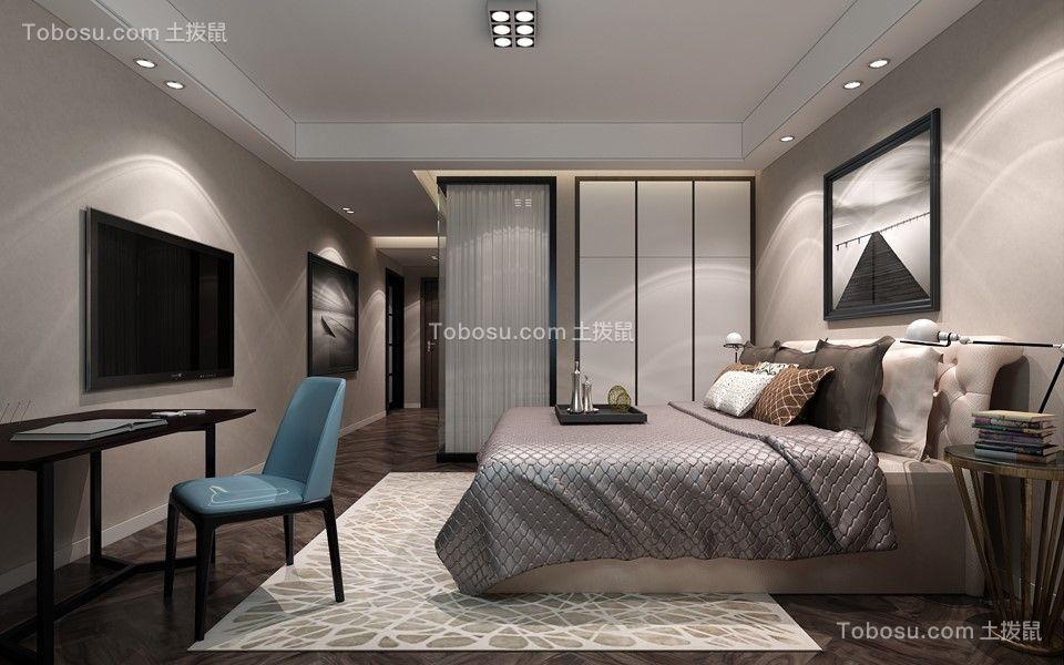 卧室白色床后现代风格装饰设计图片