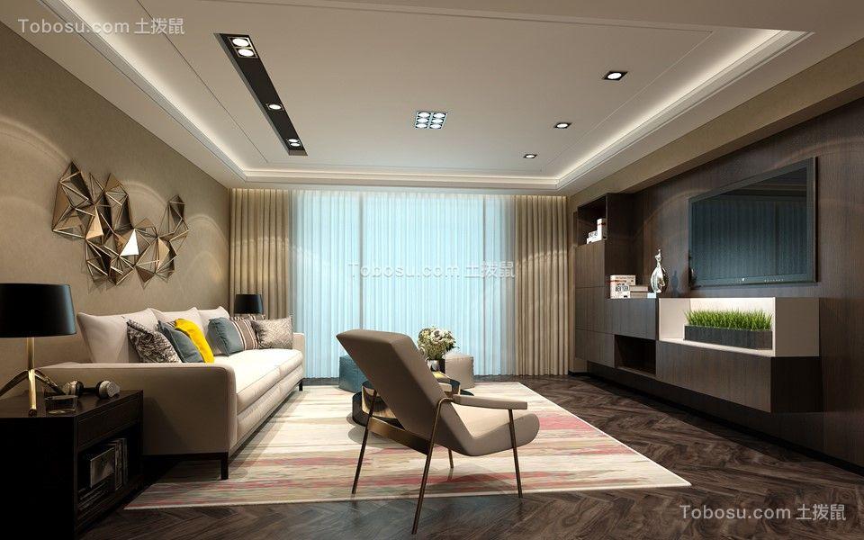 客厅白色沙发后现代风格装潢设计图片