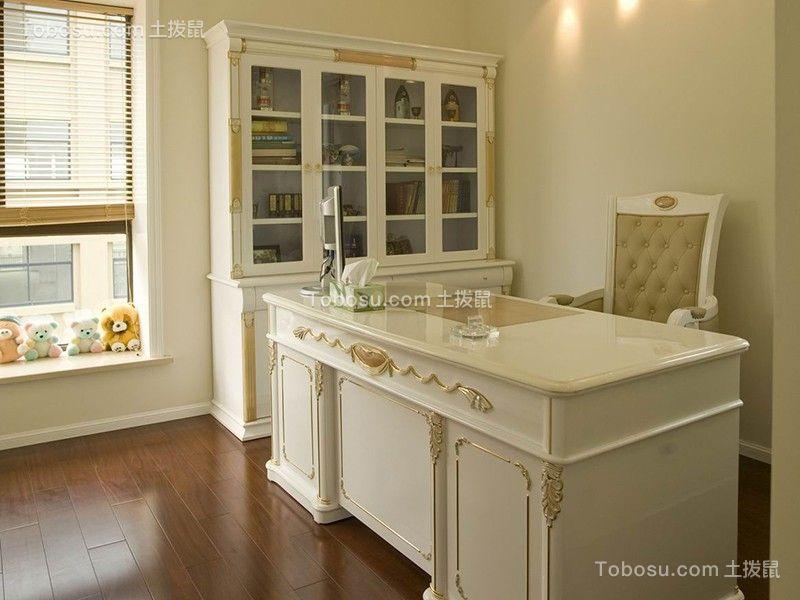 书房白色书桌简约风格装饰效果图