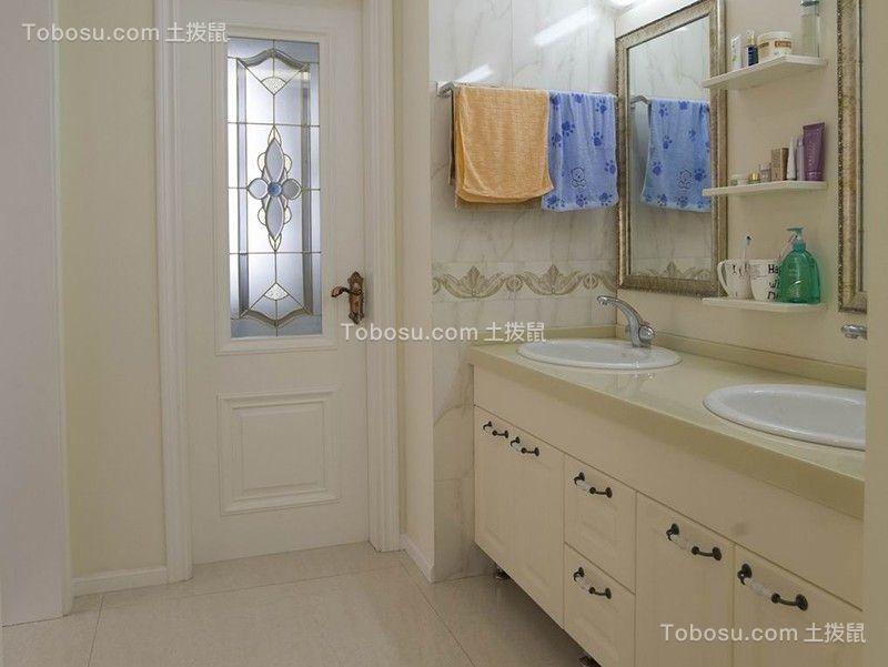 卫生间白色洗漱台简约风格装修图片