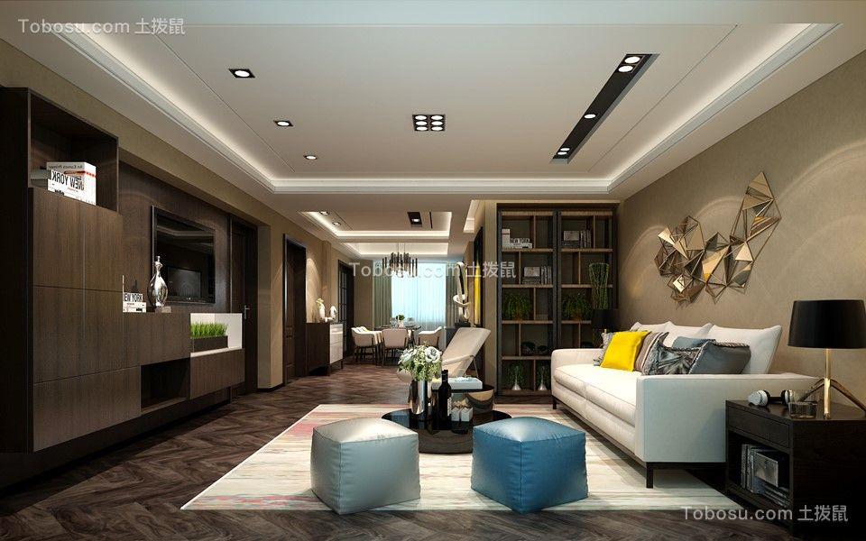 客厅咖啡色地板砖后现代风格效果图