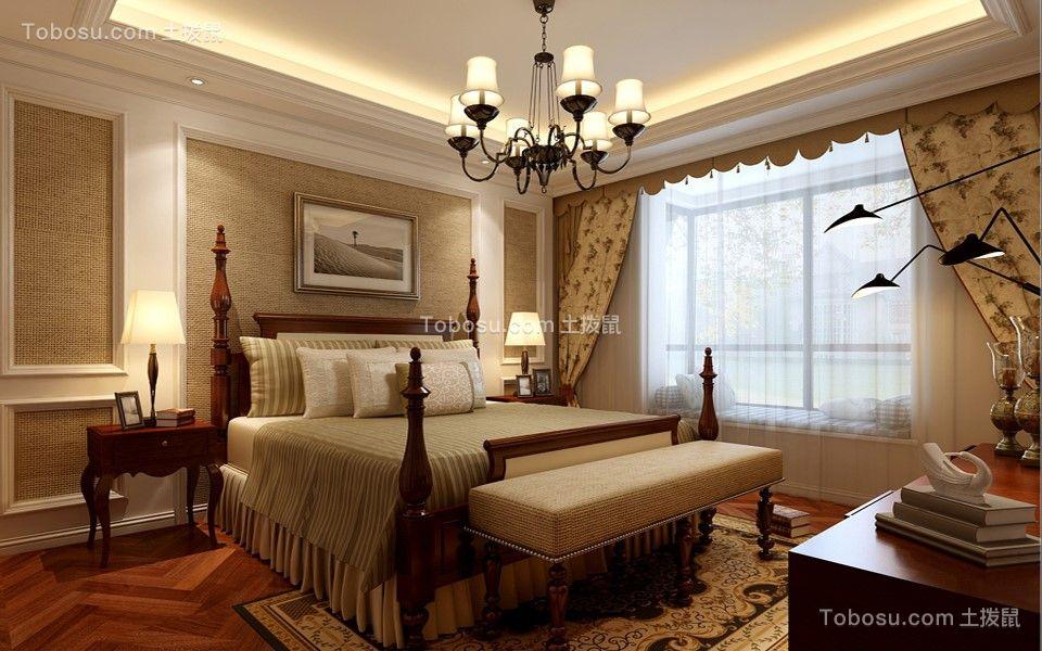 卧室咖啡色沙发美式风格装饰图片