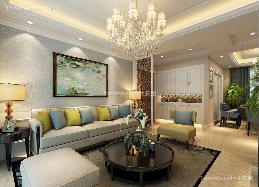 客厅灰色地板砖简欧风格装饰设计图片