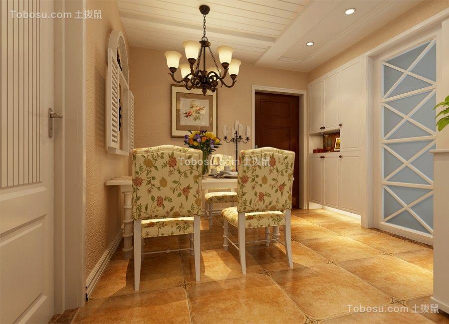 餐厅蓝色推拉门美式风格装潢设计图片