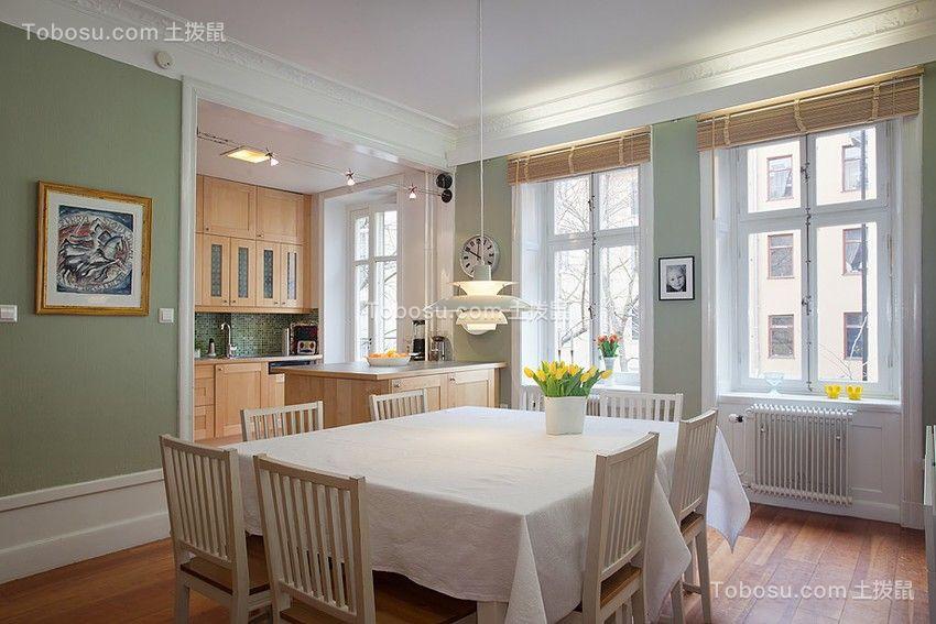 餐厅白色餐桌欧式风格装饰效果图