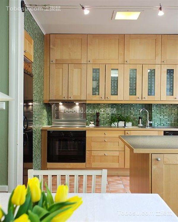 厨房绿色厨房岛台欧式风格装潢效果图
