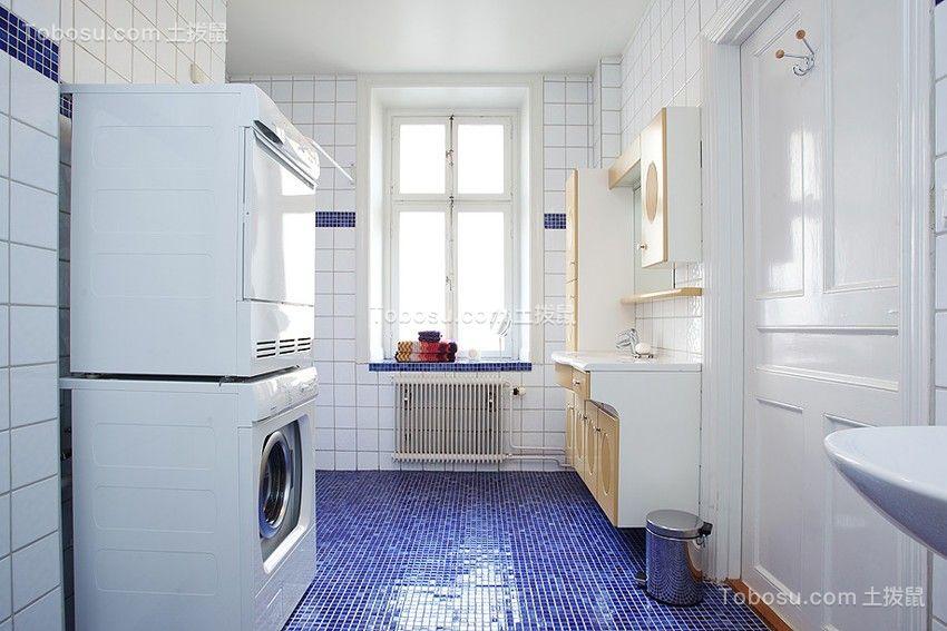 卫生间蓝色地砖欧式风格装修设计图片