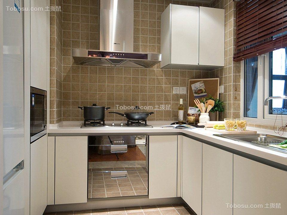 厨房白色橱柜混搭风格装潢设计图片