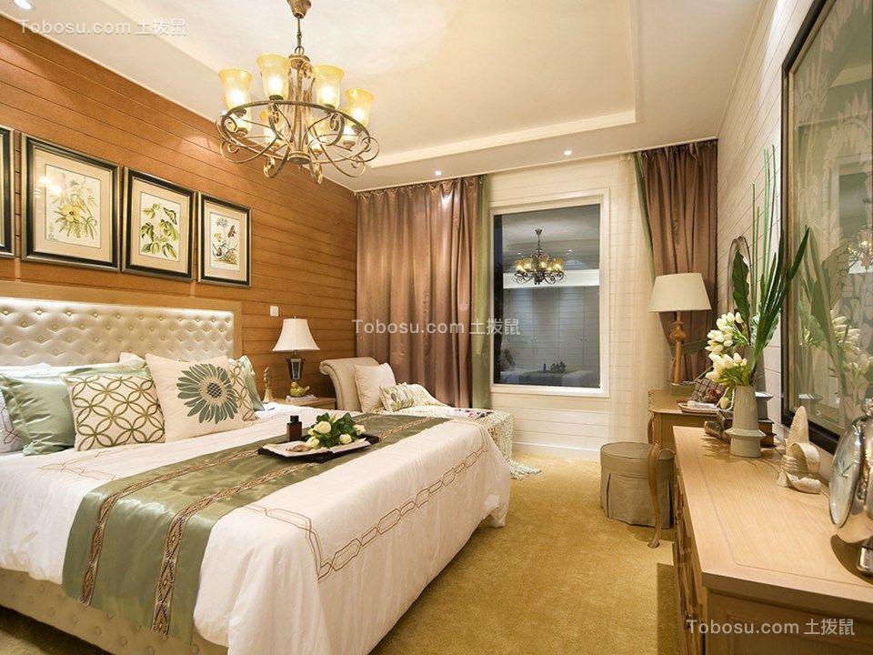 卧室咖啡色照片墙混搭风格装潢效果图