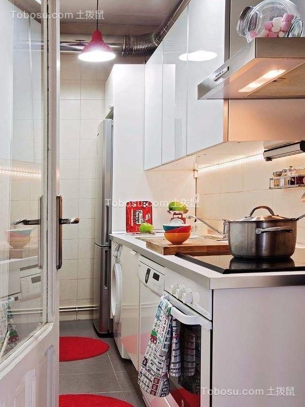厨房白色厨房岛台现代简约风格装修图片