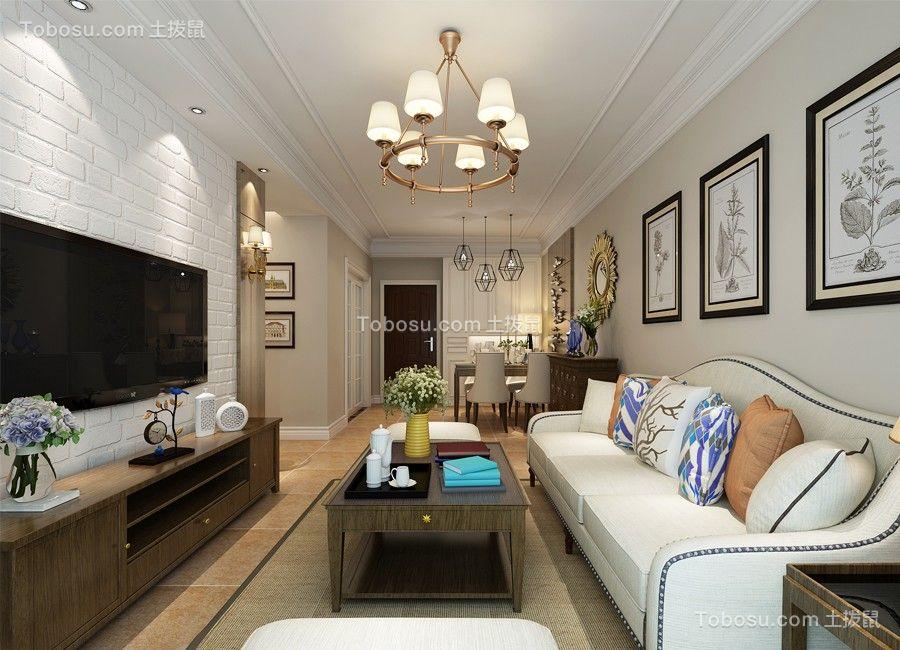 客厅咖啡色地板砖现代简约风格效果图