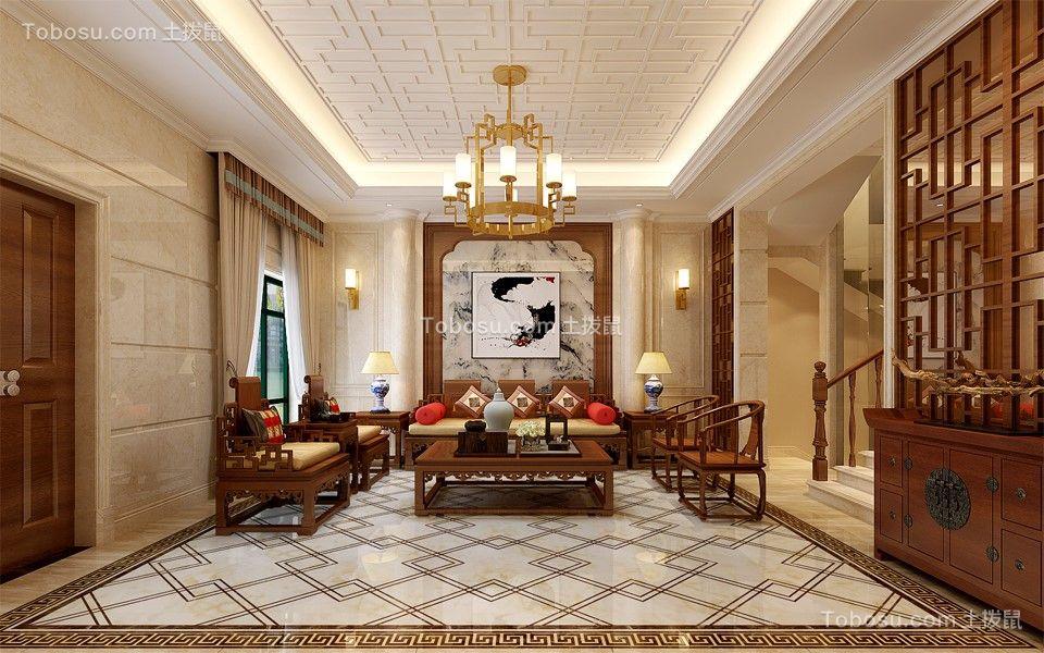 客厅橙色沙发中式风格装潢设计图片
