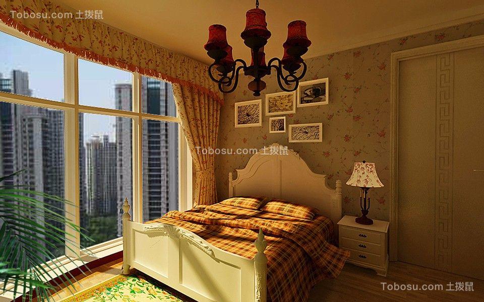 卧室白色落地窗田园风格装修设计图片