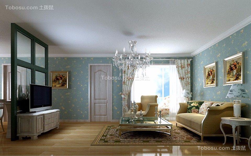 客厅黄色地板砖田园风格装饰设计图片