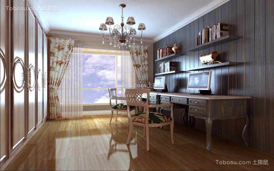 书房彩色窗帘田园风格装潢设计图片