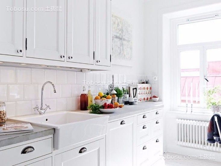厨房白色厨房岛台简约风格装潢效果图