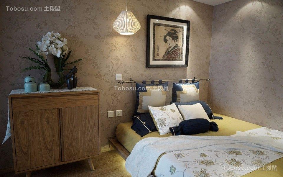 卧室灰色背景墙日式风格装潢设计图片
