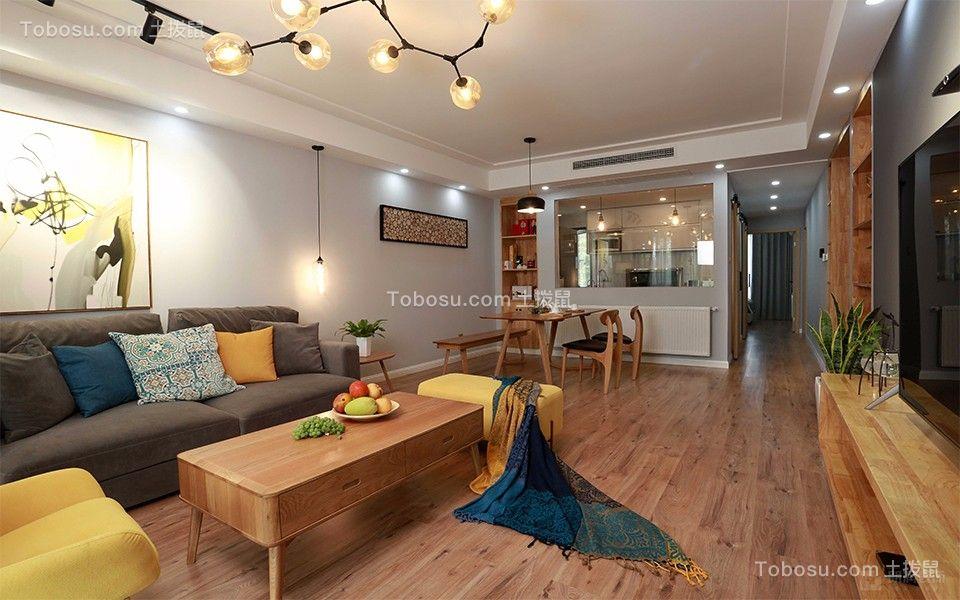 北欧风格75平米两室两厅新房装修效果图