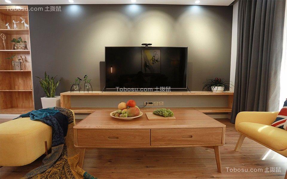 客厅灰色背景墙北欧风格装潢效果图