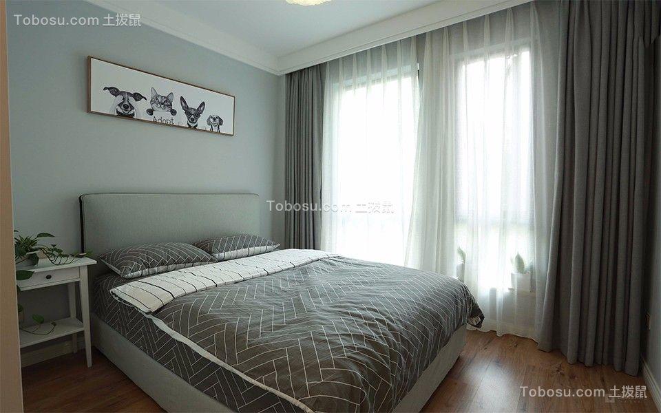 卧室灰色床北欧风格装修设计图片
