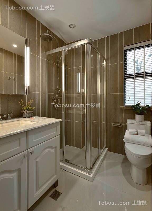 卫生间白色洗漱台美式风格装潢设计图片