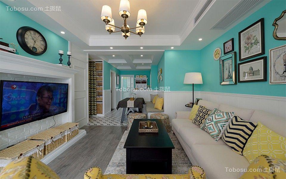 简欧风格83平米两室两厅新房装修效果图