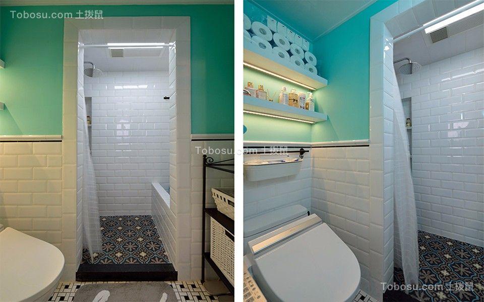 卫生间黑色地砖简欧风格装饰设计图片