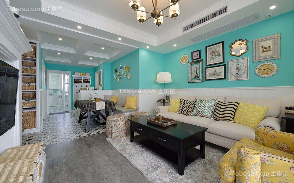 客厅蓝色背景墙简欧风格效果图