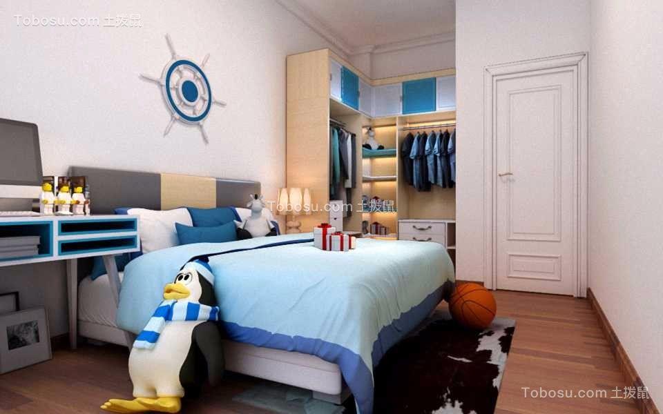 儿童房蓝色床简欧风格装潢图片