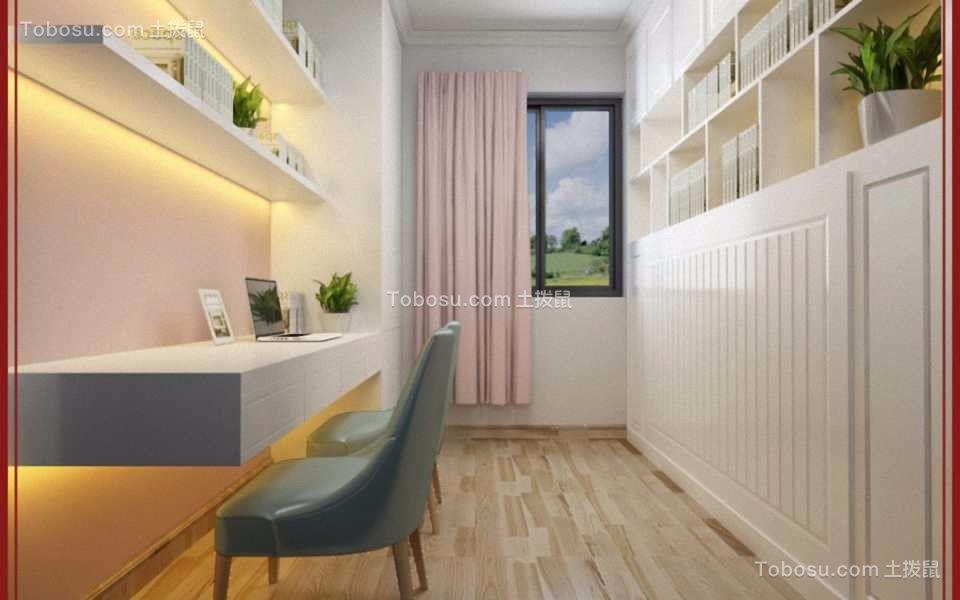 书房白色书桌简欧风格装潢设计图片