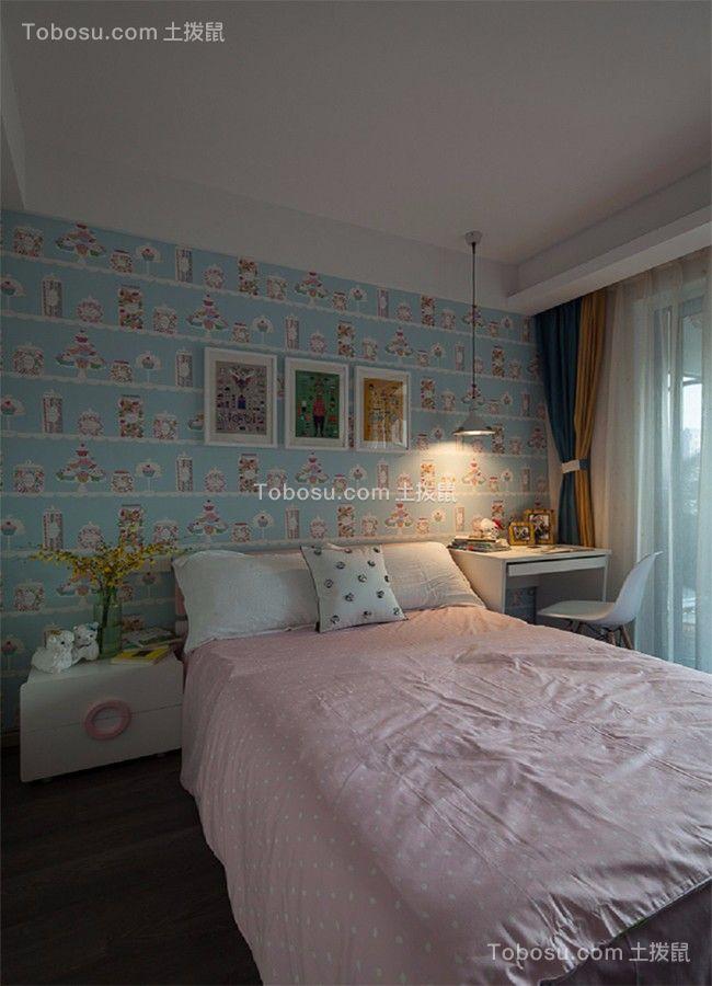 卧室蓝色床头柜混搭风格装潢效果图
