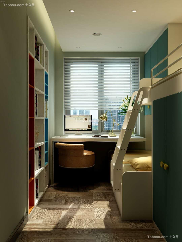 卧室蓝色书桌简约风格装修效果图