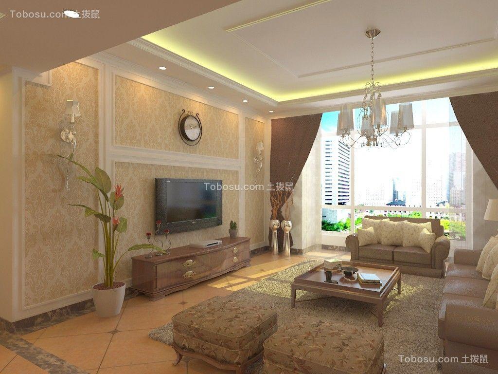 客厅黄色背景墙简欧风格装潢设计图片