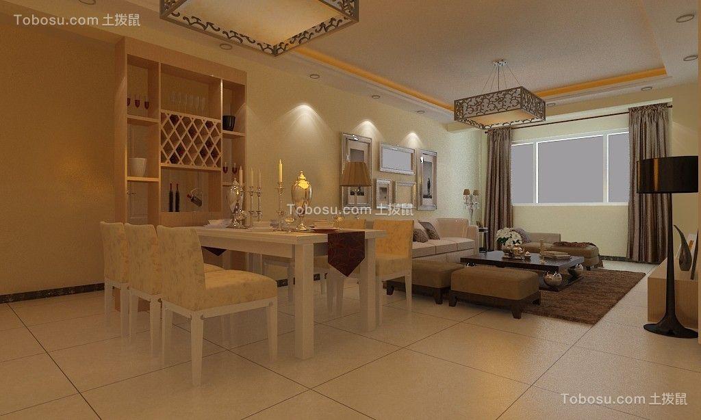 客厅白色灯具简约风格装潢效果图