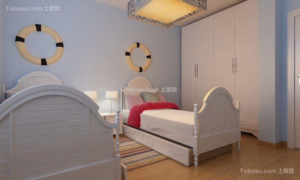 儿童房蓝色地板砖简约风格装饰设计图片