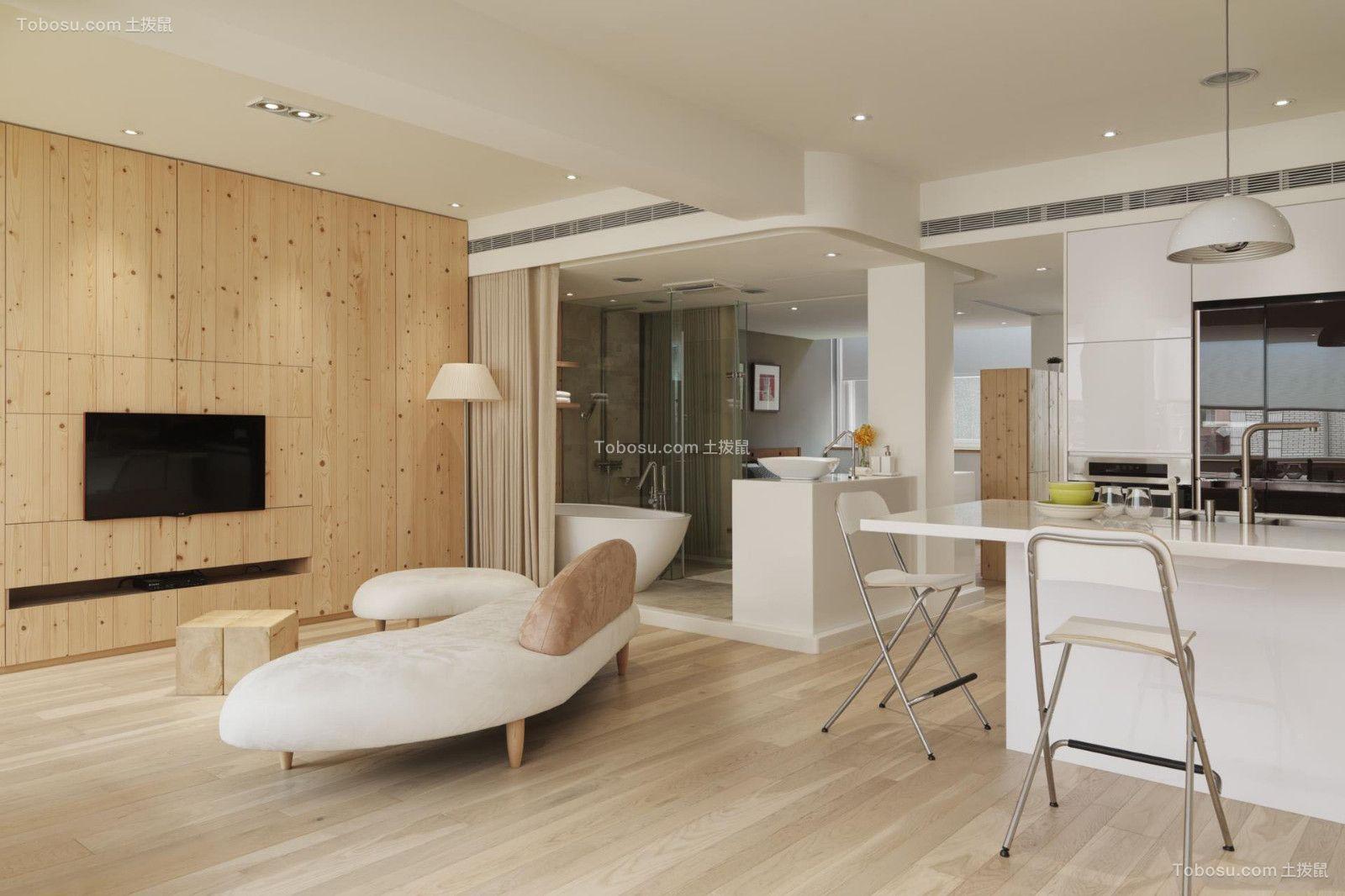 客厅米色地砖现代简约风格装修图片