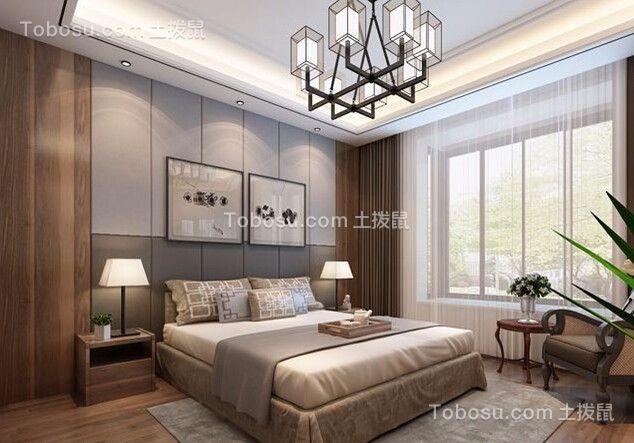 卧室灰色床中式风格装潢效果图